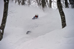 Geraldine Grand in the powder at Hakuba.
